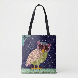 Folk Art Calico Pattern Owl at Night Tote Bag