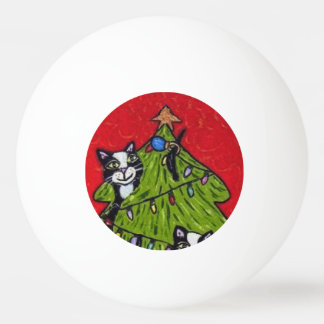 Folk Art Cats Christmas Tree Ping Pong Ball