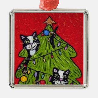 Folk Art Cats Christmas Tree Silver-Colored Square Ornament