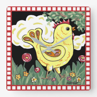 Folk art Chicken wall clock