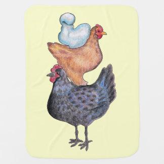 Folk Art Chickens Blanket Stroller Blanket