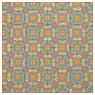 Folk Art Chrysanthemum Autumn Pattern Fabric