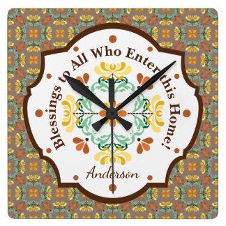 Folk Art Chrysanthemum Autumn Pattern Personalized Square Wall Clock