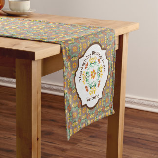 Folk Art Chrysanthemum Autumn Pattern Thanksgiving Short Table Runner