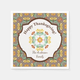 Folk Art Chrysanthemum Personalized Thanksgiving Paper Napkins