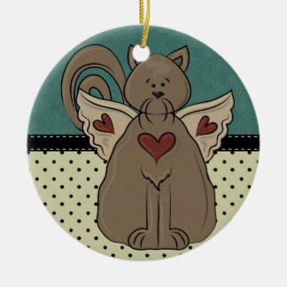Folk Art Country Cat Round Ceramic Ornament