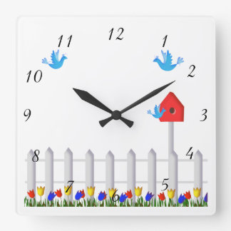 Folk Art Country Garden With Tulips Square Wall Clock
