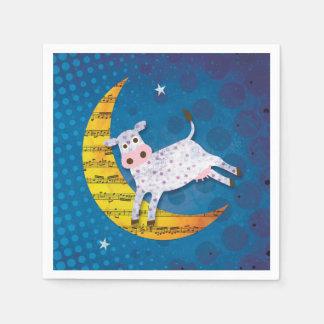 Folk Art Cow Jumped Over the Moon Nursery Rhyme Paper Napkin