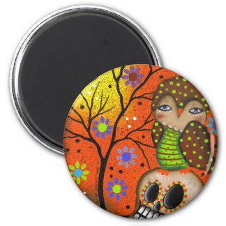 Folk Art Day Of The Dead By Lori Everett Fridge Magnets