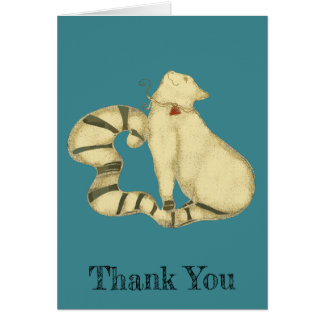 Folk Art Deco White Cat Thank You Personalize Card