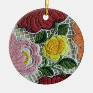 Folk Art Embroidery Flowers Round Ceramic Ornament