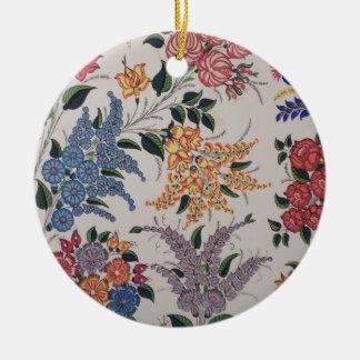 Folk Art Embroidery Flowers Round Ceramic Ornament