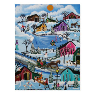 FOLK ART First Day Of Snow LORI EVERETT postcard