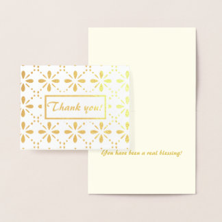 Folk Art Flowers Pattern Thank You Gold Foil Card