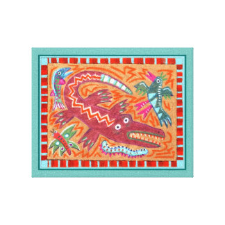 Folk Art Gator Canvas Print