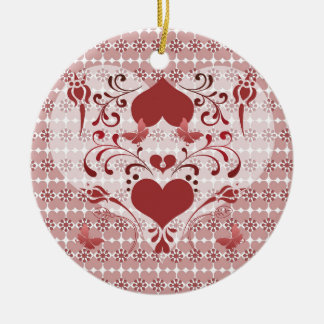 Folk Art Heart and Swirls Round Ceramic Ornament