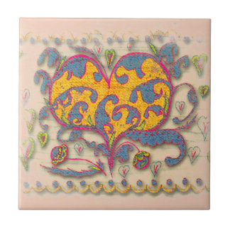 Folk Art Heart with leaves and flowers Ceramic Tile