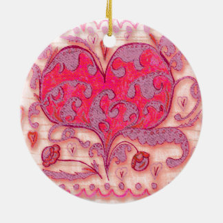 Folk Art Heart with leaves and flowers Round Ceramic Ornament