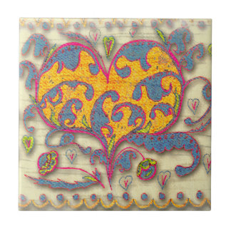 Folk Art Heart with leaves and flowers Tile