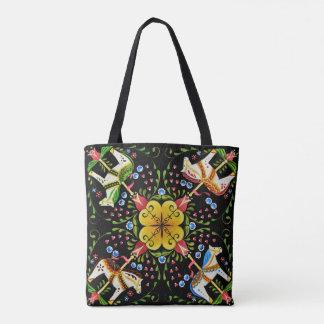 Folk art horses with flowers design tote bag