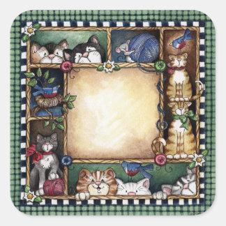 Folk art Kittens Sticker