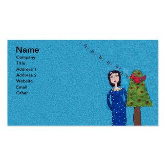Folk Art Lady Apple Tree Cute singing Red Bird Business Card