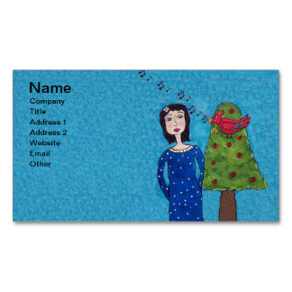 Folk Art Lady Apple Tree Red Bird Musical Notes Business Card Magnet