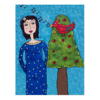 Folk Art Lady Apple Tree Red Bird Musical Notes Postcard