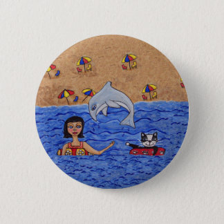 Folk Art Lady Cat Beach Ocean Dolphin Swimming 2 Inch Round Button