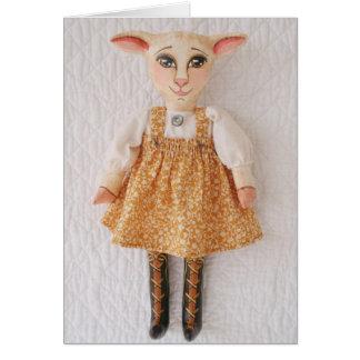 Folk Art Lamb Doll Easter Card