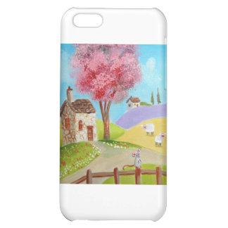 Folk art landscape mouse sheep old cottage cover for iPhone 5C