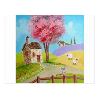 Folk art landscape mouse sheep old cottage postcard