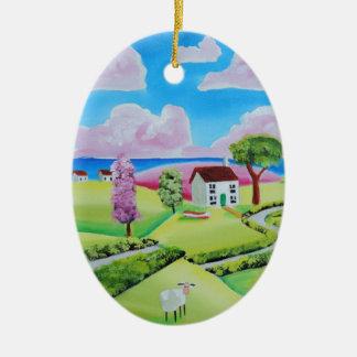 Folk art landscape painting Gordon Bruce Ceramic Oval Ornament