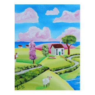 Folk art landscape painting Gordon Bruce Postcard