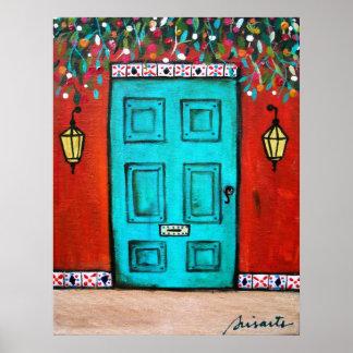 FOLK ART MEXICAN DOOR PAINTING POSTER