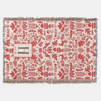 Folk Art Monogram Holiday Blanket