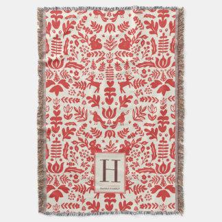 Folk Art Monogram Holiday Blanket Throw
