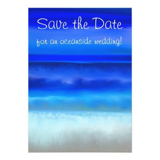Folk Art Night Ocean Save the Date Invitation