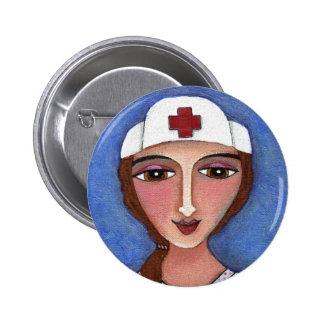 Folk Art Nurse - RN nursing button