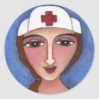 Folk Art Nurse - RN / nursing sticker