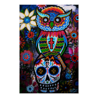 FOLK ART OWL DAY OF THE DEAD PAINTING POSTER