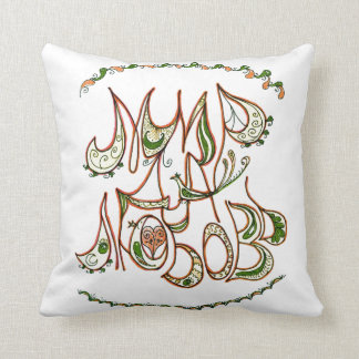 Folk Art Peace & Love Wish in Russian Throw Pillow