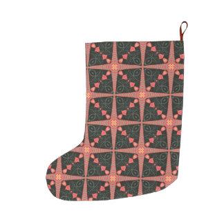 Folk Art Quilt Large Christmas Stocking