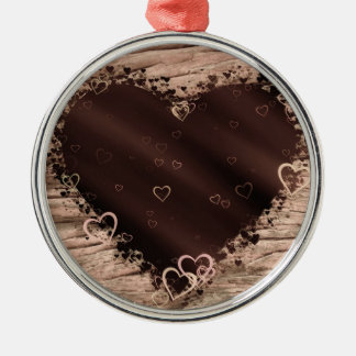 Folk Art Rustic Wood Effect Collage Hearts Silver-Colored Round Ornament