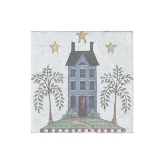 Folk Art Saltbox House & Willows Magnet Stone Magnets