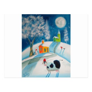 FOLK ART SNOW SCENE COW MOON POSTCARD