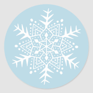 Folk art snowflake light blue Christmas holiday Classic Round Sticker