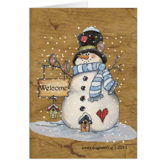 Folk Art Snowman Christmas Greeting Card