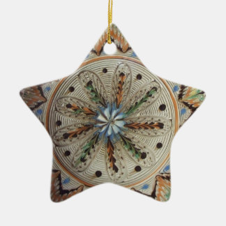 Folk Art Star Flowers Ceramic Ornament