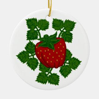 Folk Art Strawberry Round Ceramic Ornament